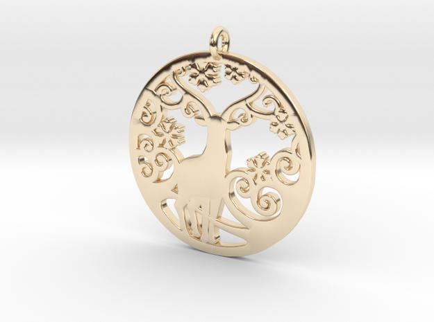 Deer-Circular-Pendant-Stl-3D-Printed-Model in 14k Gold Plated Brass: Medium