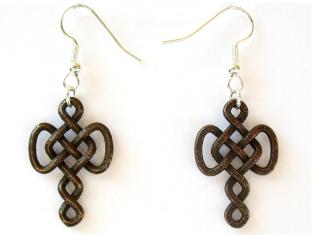 Infinite Goddess Mother earrings in Polished Bronze Steel