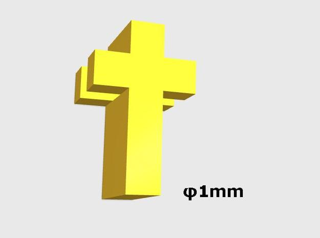 Tiny Cross (1 hole) in Polished Gold Steel