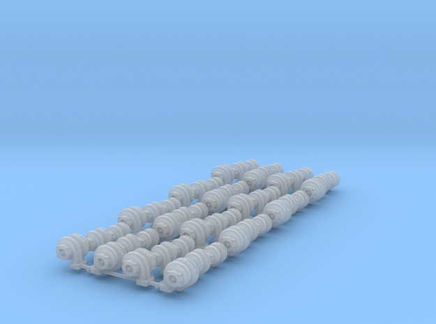 Set of 48 - Turbos in various sizes in Smooth Fine Detail Plastic
