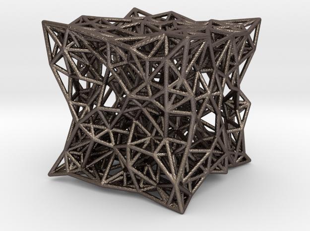 cube_u in Polished Bronzed-Silver Steel
