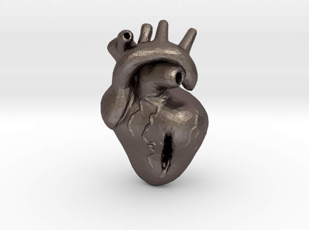 Damaged Heart in Polished Bronzed-Silver Steel