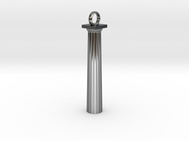 Doric Column Pendant in Fine Detail Polished Silver