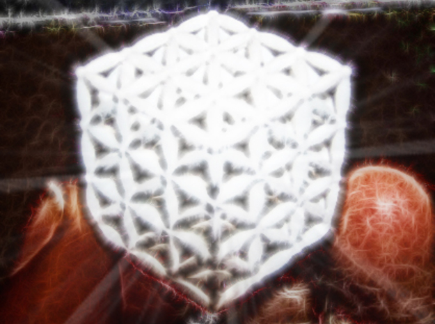 "3-D FLOWER OF LIFE ""META-CUBE"" in White Processed Versatile Plastic"