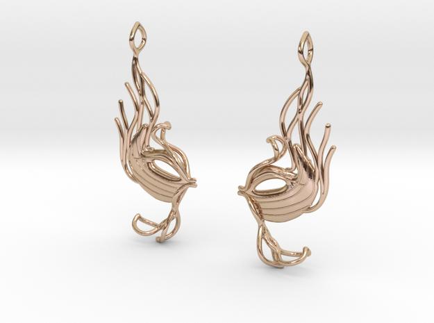 Masquerade fish earring pair in 14k Rose Gold