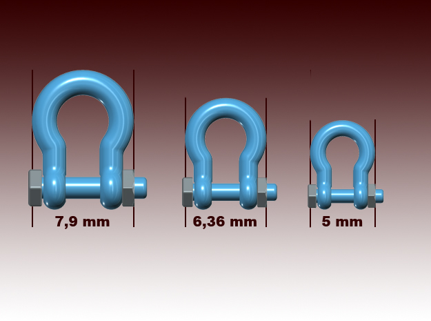 Bolt shackles - 1:50 - 36X in Smooth Fine Detail Plastic