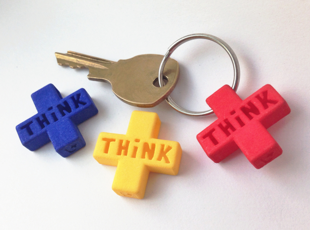 """""""Think Positive"""" Keychain in Red Processed Versatile Plastic"""
