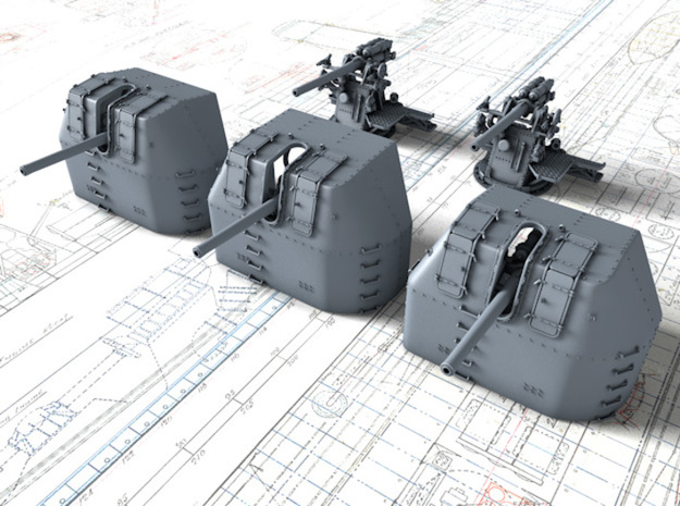 """1/700 RN 4"""" MKV P Class Guns Closed Ports x5 in Smoothest Fine Detail Plastic"""