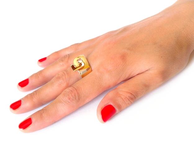 LOOP ring 3d printed Polished Bronze