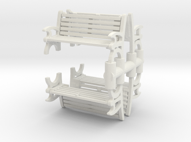 Bench (4 pieces) 1/87 in White Natural Versatile Plastic