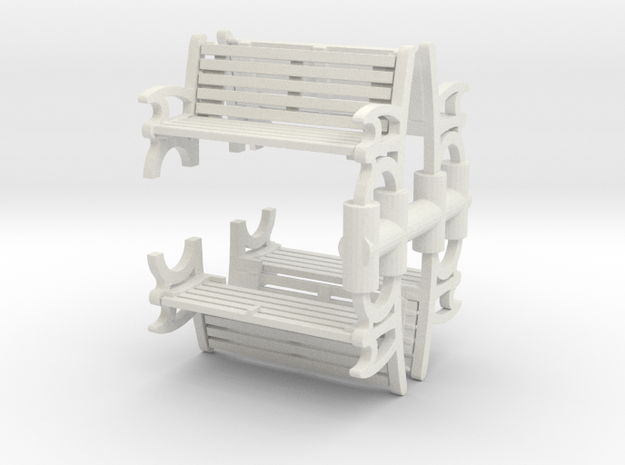 Bench (4 pieces) 1/56 in White Natural Versatile Plastic
