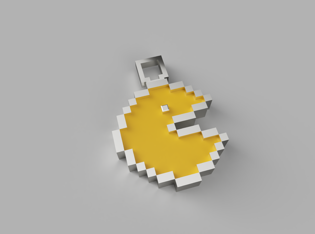 Pixel Art - Pacman  in Polished Gold Steel