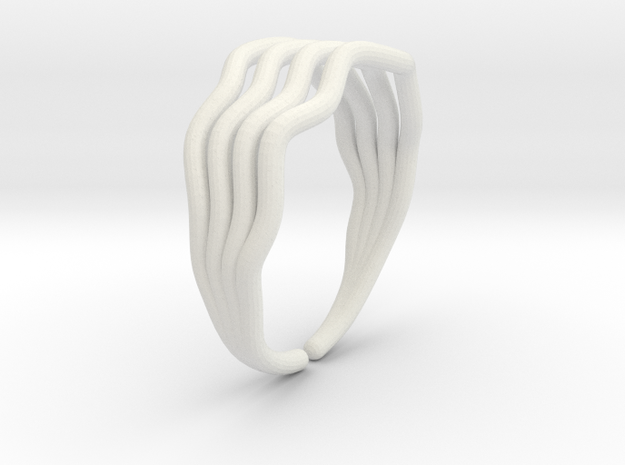 Wave ring  in White Natural Versatile Plastic