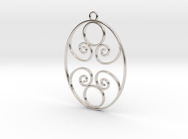 Golden Ratio Oval pendant -- mk1  in Rhodium Plated Brass