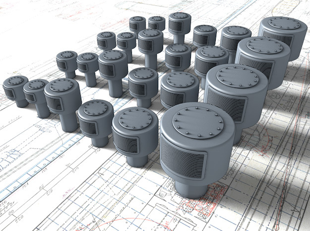 1/35 Royal Navy Large Mushroom Vents x24 in Smooth Fine Detail Plastic