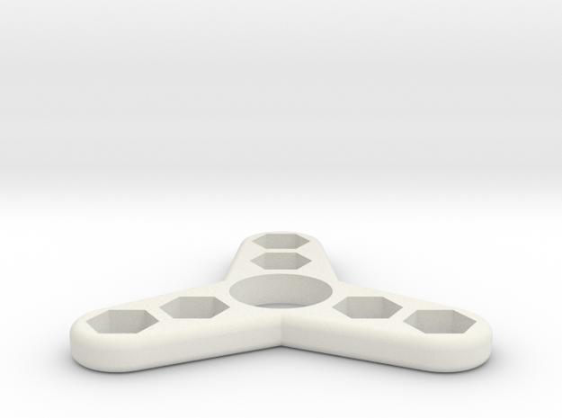 Tri Hex Spinner in White Natural Versatile Plastic