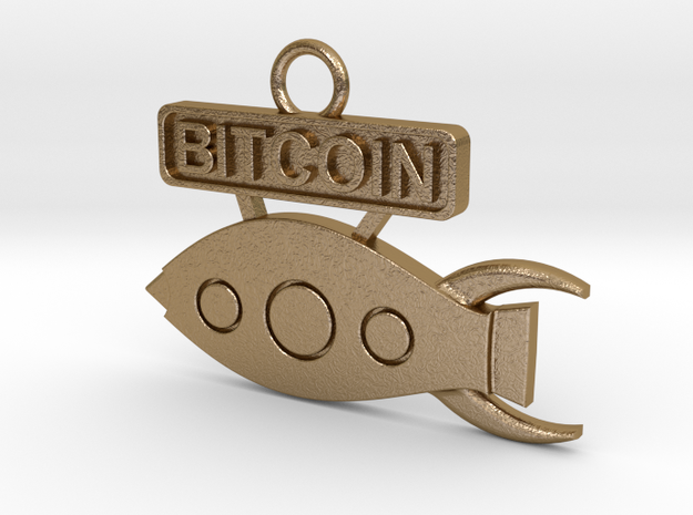 Bitcoin - Rocket To The Moon - v1 in Polished Gold Steel