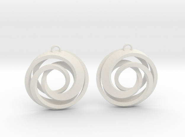 Geometrical earrings no.22 in White Natural Versatile Plastic