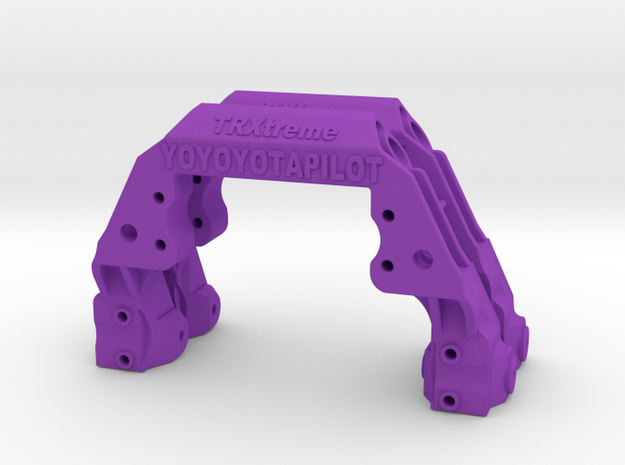 TRX-4 2x V1 servo on axle mount and 4-link adapter in Purple Processed Versatile Plastic
