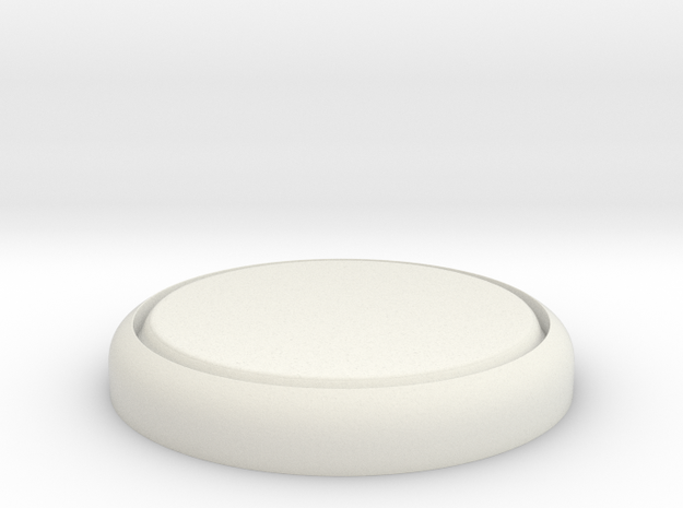 "Flat 1"" Circular Miniature Base Plate in White Natural Versatile Plastic"
