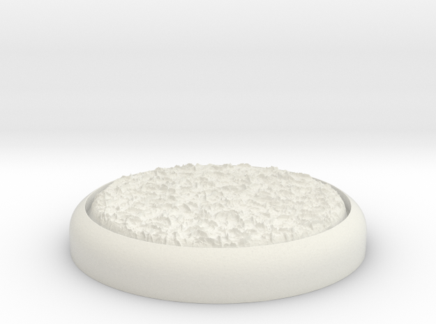 "Grassy 1"" Circular Miniature Base Plate in White Natural Versatile Plastic"