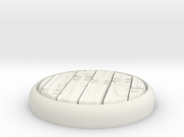 "Planks  1"" Circular Miniature Base Plate in White Natural Versatile Plastic"