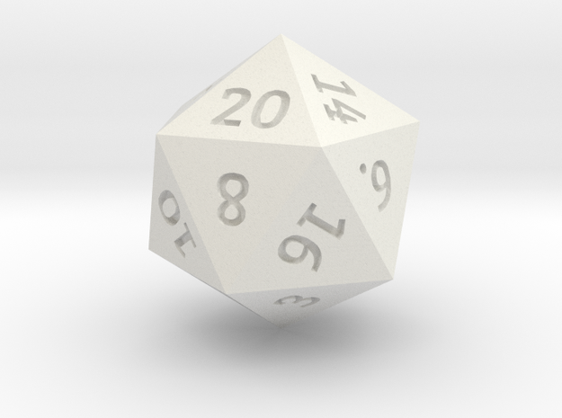 D20 Precision in White Natural Versatile Plastic