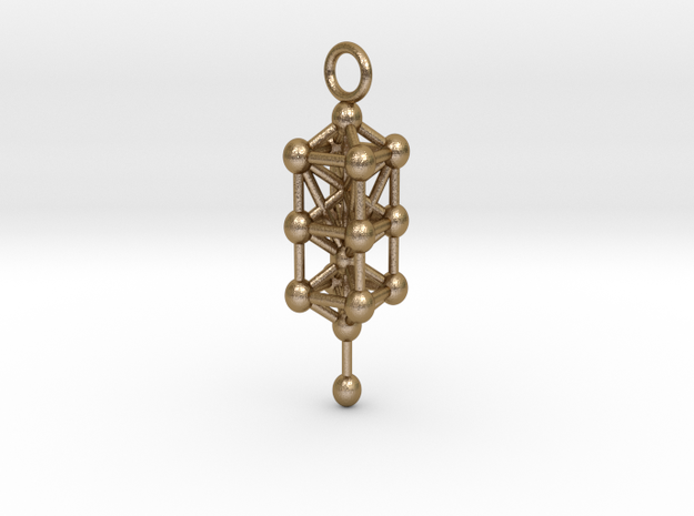 3d sefirot pendant 47 in Polished Gold Steel: Medium