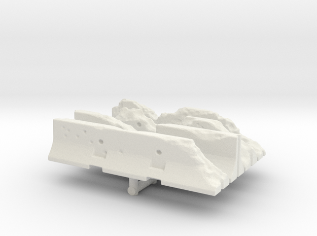 Damaged Jersey barrier (x4) 1/87 in White Natural Versatile Plastic