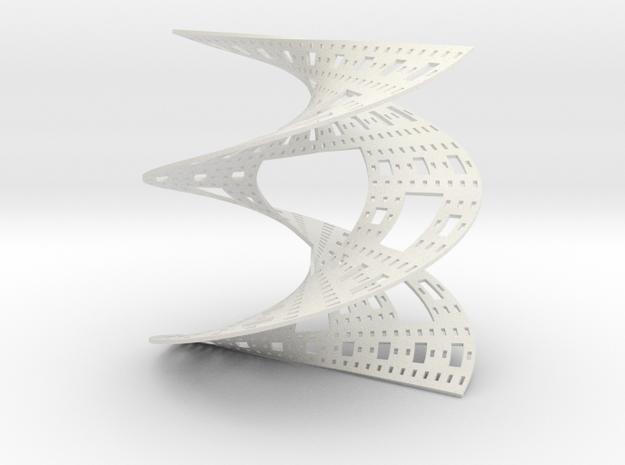 Sierpinski Carpet Helicoid in White Natural Versatile Plastic