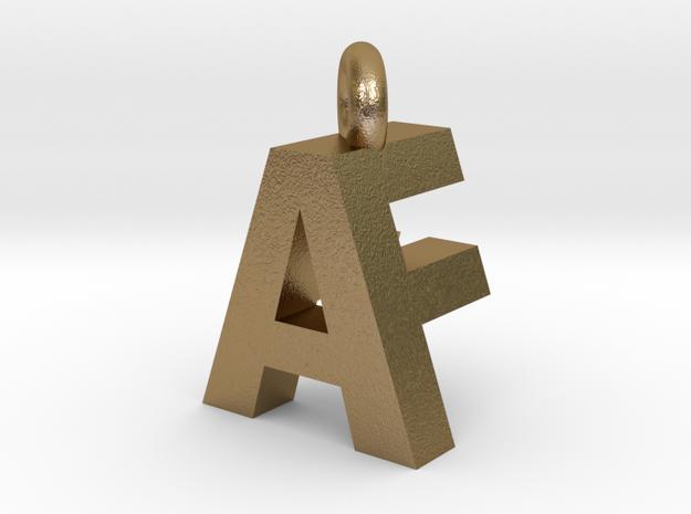 AF pendant top in Polished Gold Steel