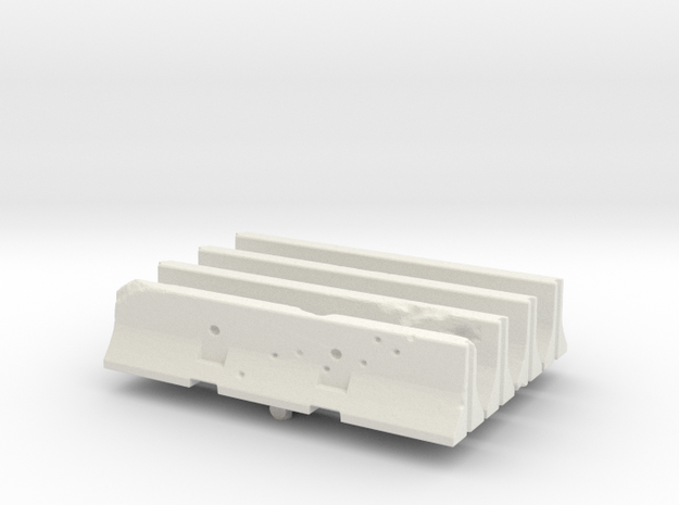 Jersey barrier (x4) 1/43 in White Natural Versatile Plastic