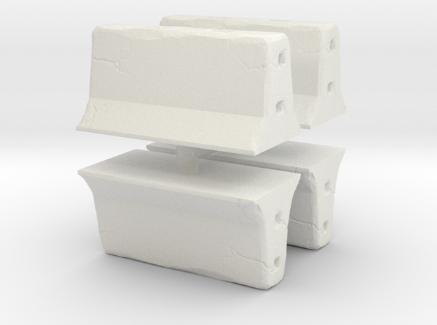 Concrete barrier (4 pieces) 1/100 in White Natural Versatile Plastic