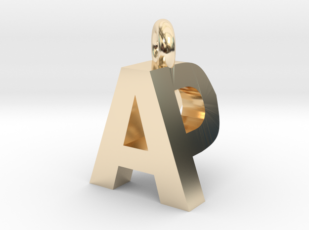 AP pendant top in 14k Gold Plated Brass
