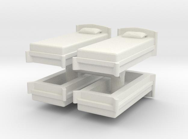 Single Bed (x4) 1/100 in White Natural Versatile Plastic