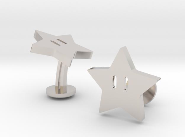 Super Mario Star Cufflinks in Rhodium Plated Brass