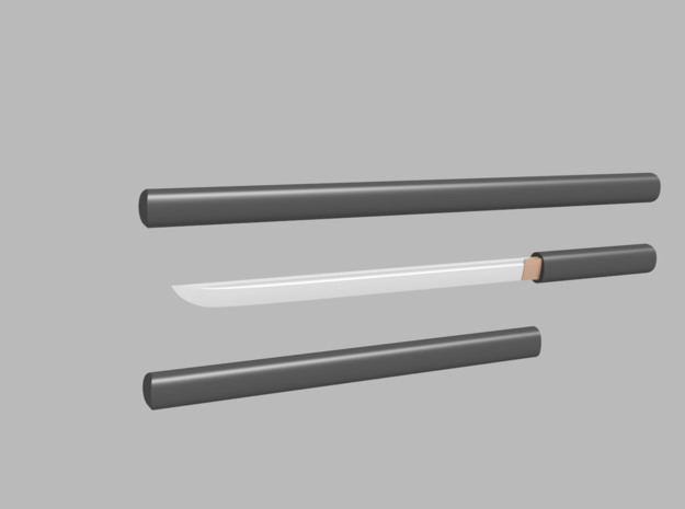 Wakizashi - 1:12 scale - Straight blade - Plain in Smooth Fine Detail Plastic