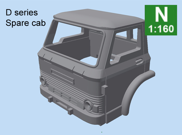 D Series Spare Cab N scale in Smooth Fine Detail Plastic