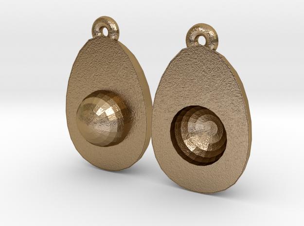 Avocado Earring Two in Polished Gold Steel