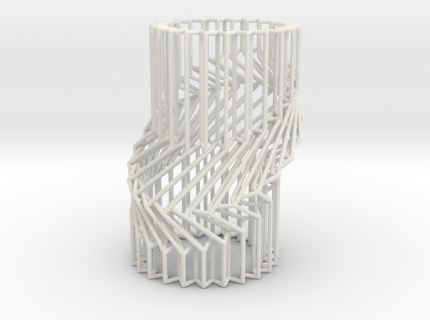 Wire Cylinder Zig-Zag with Single Diagonal Shift  in White Natural Versatile Plastic