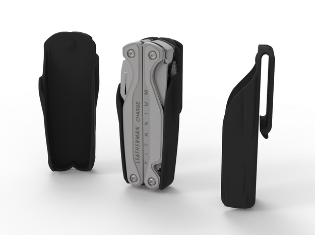 Holster for Leatherman Charge+ TTI, Open Clip in Black Natural Versatile Plastic: Medium