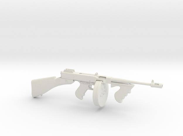 1/3 Scale 1928 Thompson Submachine Gun  in White Natural Versatile Plastic