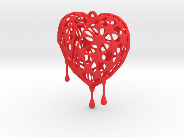 Bleeding Heart Earring (Large001) in Red Processed Versatile Plastic