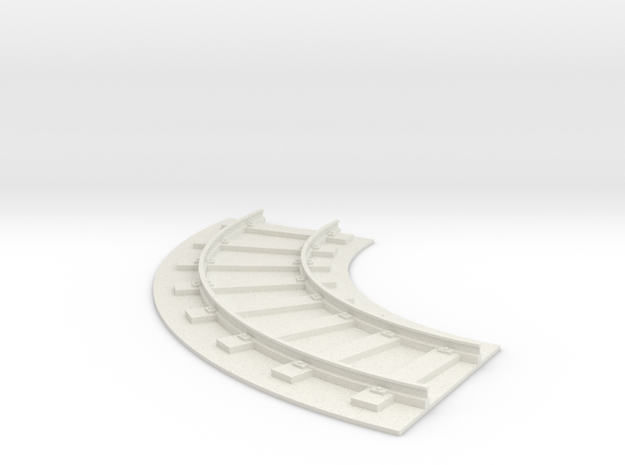 150mm Rail Section - 90 Degree Curve in White Natural Versatile Plastic