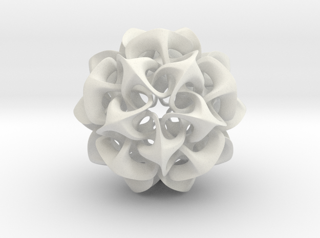 Rhombic Triacontahedron II, medium in White Strong & Flexible