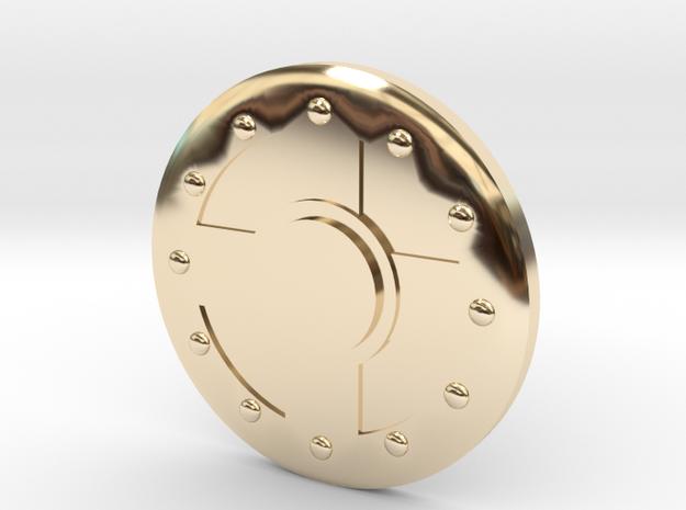 Warrior Shield Earring 10mm in 14K Yellow Gold