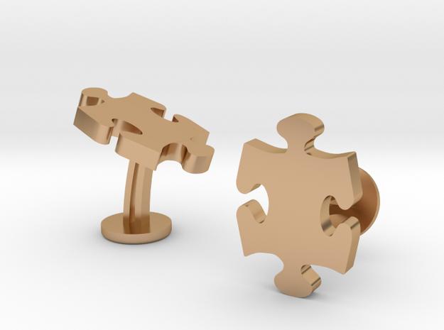 Jigsaw Wedding Cufflinks in Polished Bronze