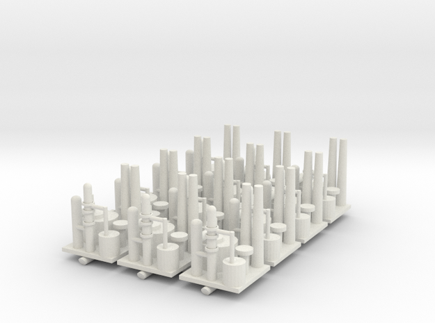Oil Refinery Set of 12 in White Natural Versatile Plastic