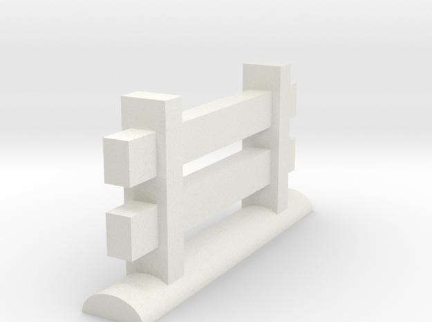 Miniature Fence Piece in White Natural Versatile Plastic