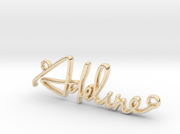 Adeline First Name Pendant in 14k Gold Plated Brass
